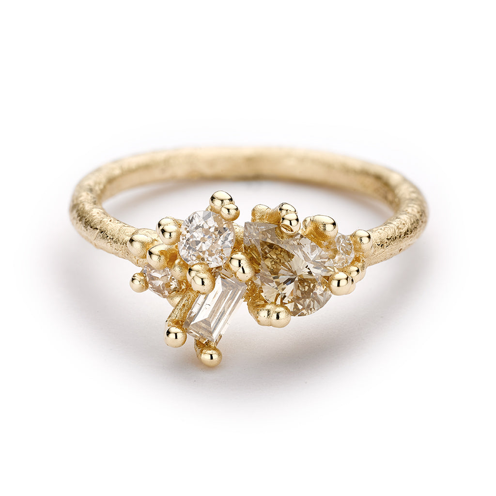 Contrast Cut Diamond Cluster Ring by Ruth Tomlinson, handmade in London