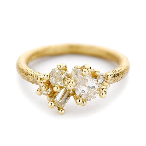 Contrast cut diamond ring from Ruth Tomlinson, handmade in London