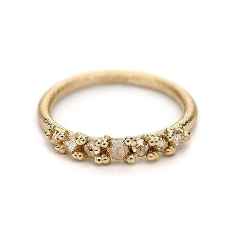 Seven Stone Rose Cut Champagne Diamond Ring from Ruth Tomlinson, Handmade in London