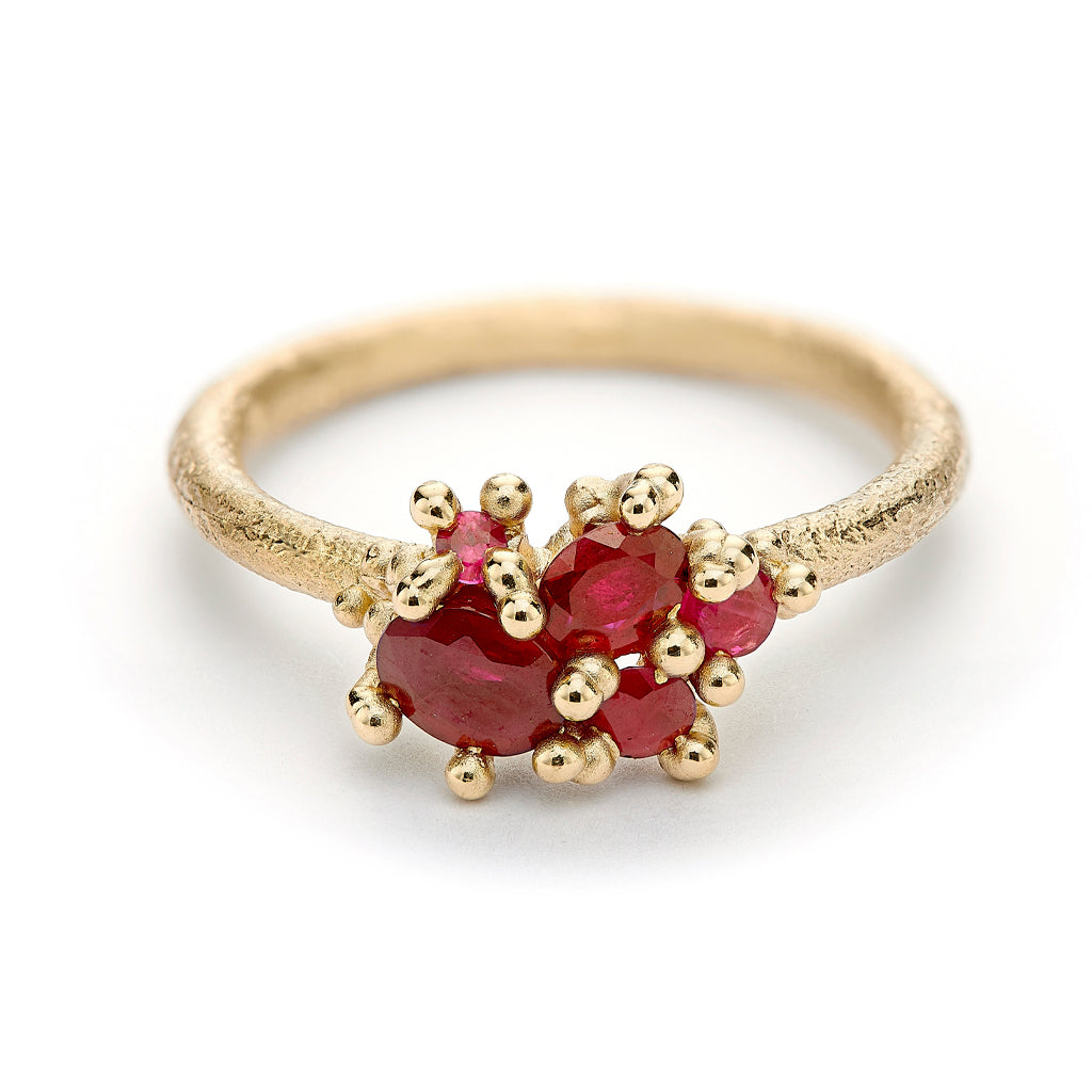 Ruby Cluster Ring by Ruth Tomlinson, handmade in London