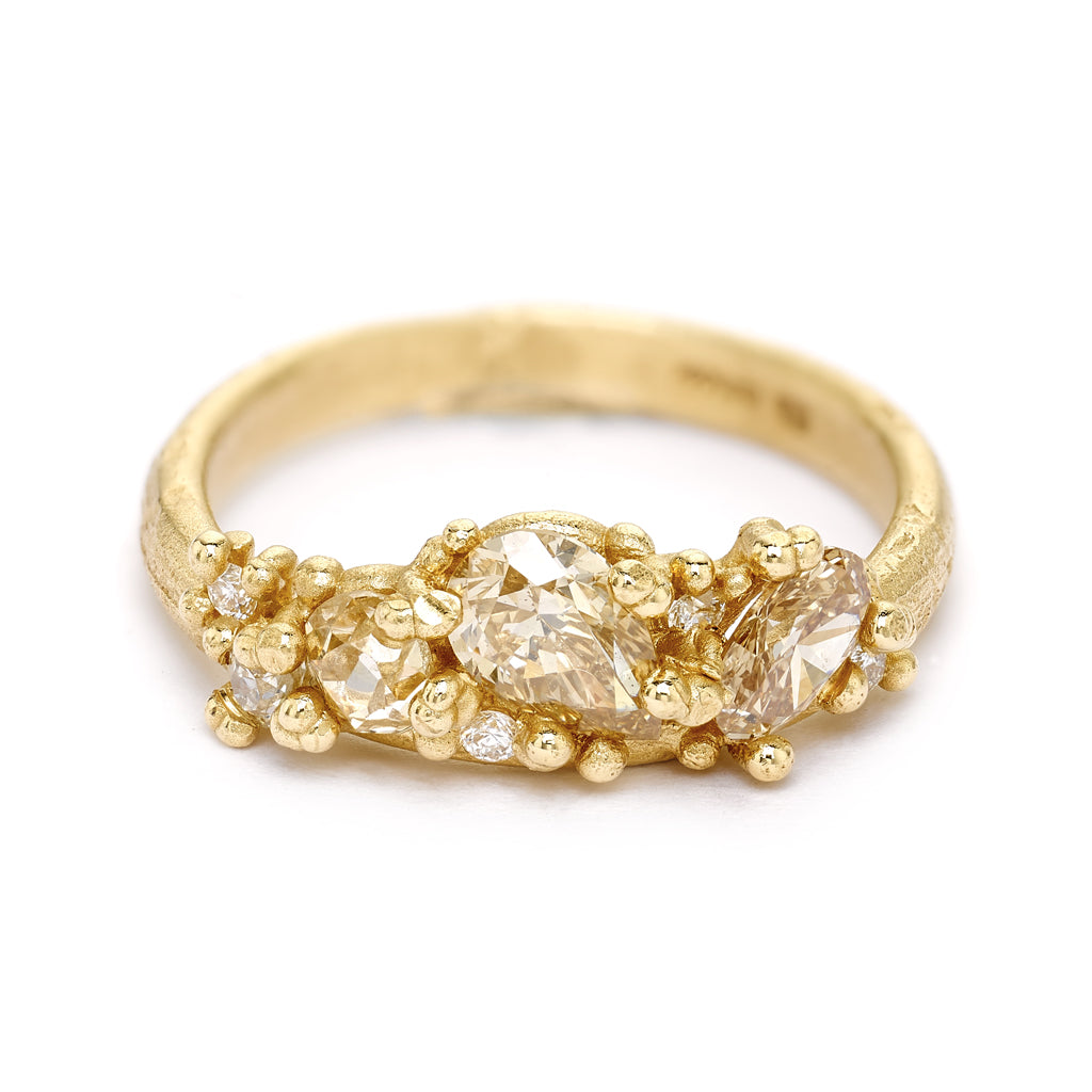 Champagne diamond cluster engagement ring from Ruth Tomlinson, handmade in London