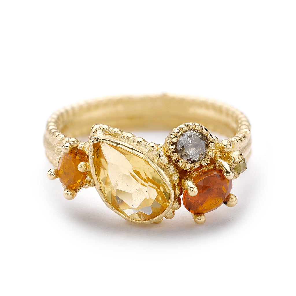 Citrine cluster ring from Ruth Tomlinson, handmade in London