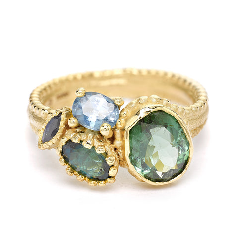 Tourmaline and sapphire cluster ring from Ruth Tomlinson, handmade in London