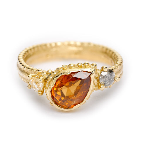 Orange sapphire ring from Ruth Tomlinson, handmade in London