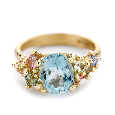Aquamarine and Sapphire Encrusted Ring