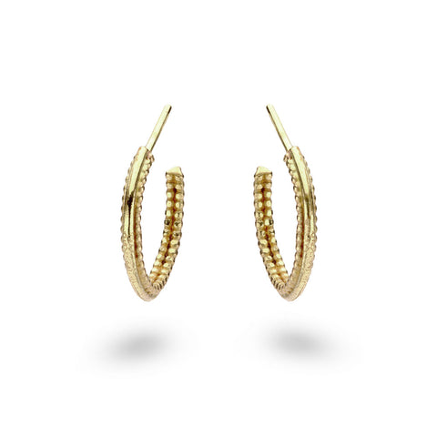 Intricate gold hoop earrings from Ruth Tomlinson, handmade in London
