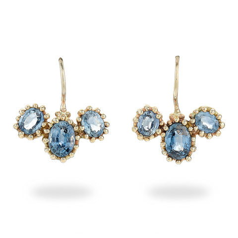 Three Stone Sapphire Drop Earrings