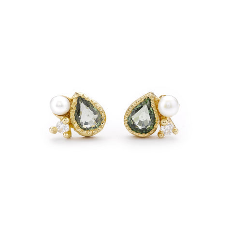Green sapphire cluster stud earrings from Ruth Tomlinson, handmade in London