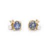 Sapphire, pearl and diamond studs from Ruth Tomlinson, handmade in London