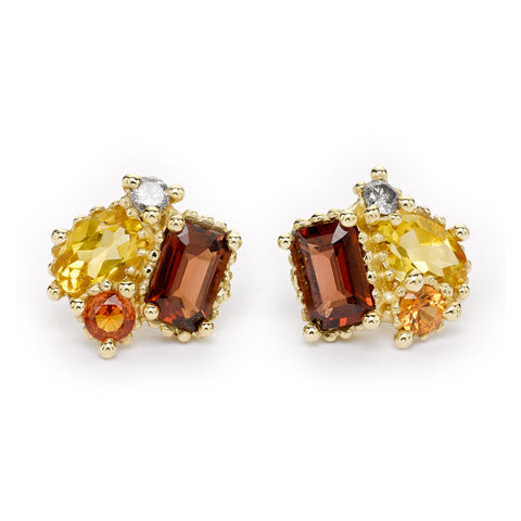 Citrine and garnet cluster studs from Ruth Tomlinson, handmade in London