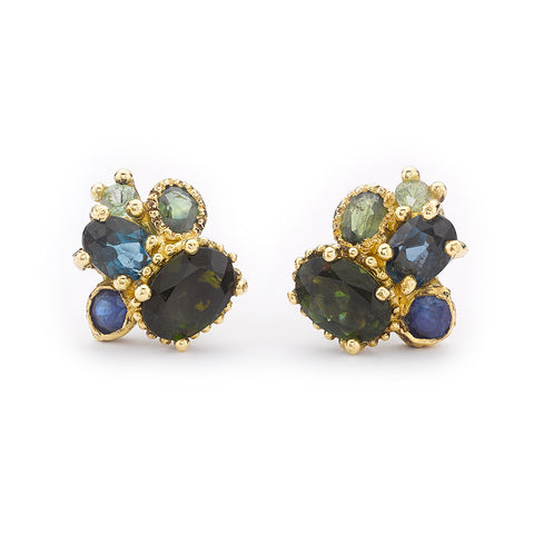 Tourmaline and sapphire cluster studs from Ruth Tomlinson, handmade in London