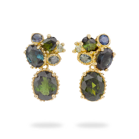 Tourmaline and sapphire cluster drop earrings from Ruth Tomlinson, handmade in London