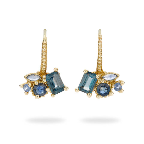 Topaz and sapphire drop earrings from Ruth Tomlinson, handmade in London