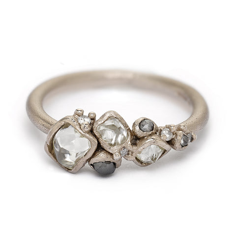 Raw diamond cluster engagement ring from Ruth Tomlinson, handmade in London
