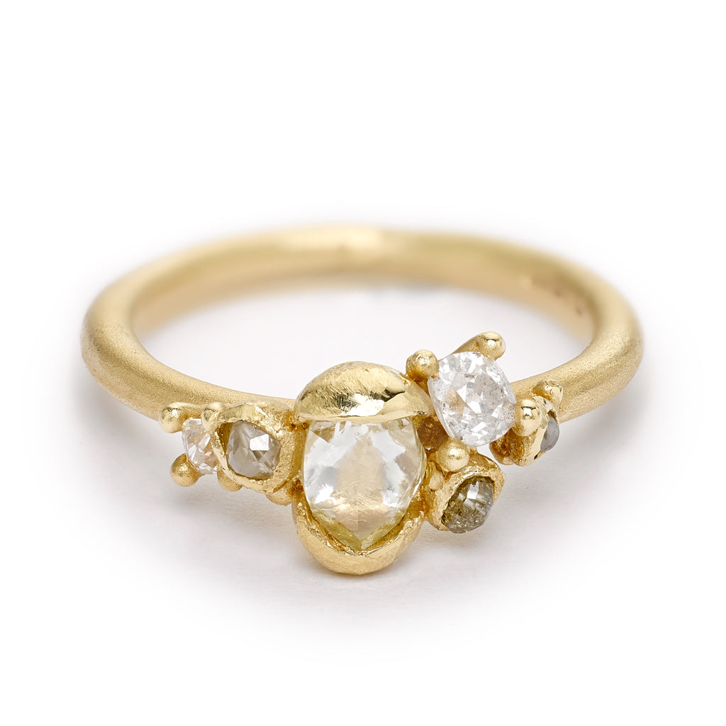 Raw diamond engagement ring from Ruth Tomlinson, handmade in London