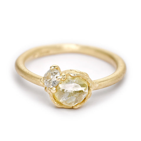 Raw yellow diamond engagement ring from Ruth Tomlinson, handmade in London