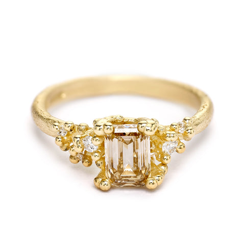 Emerald cut champagne diamond engagement ring from Ruth Tomlinson, handmade in London