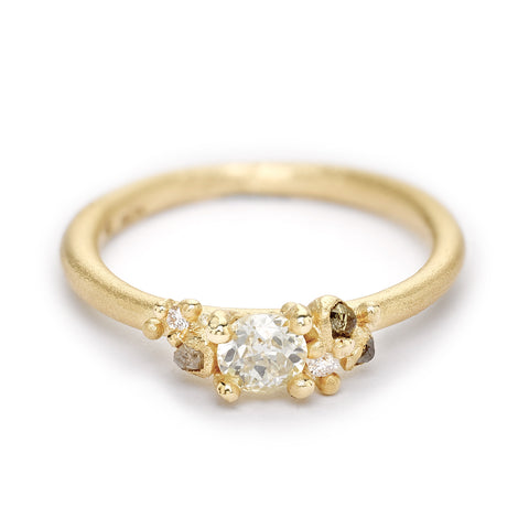 Antique cut diamond solitaire engagement ring from Ruth Tomlinson, handmade in London