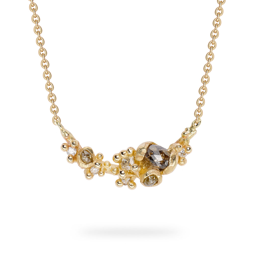 Rose cut diamond bar necklace from Ruth Tomlinson, handmade in London