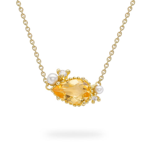 Citrine, pearl and diamond necklace from Ruth Tomlinson, handmade in London