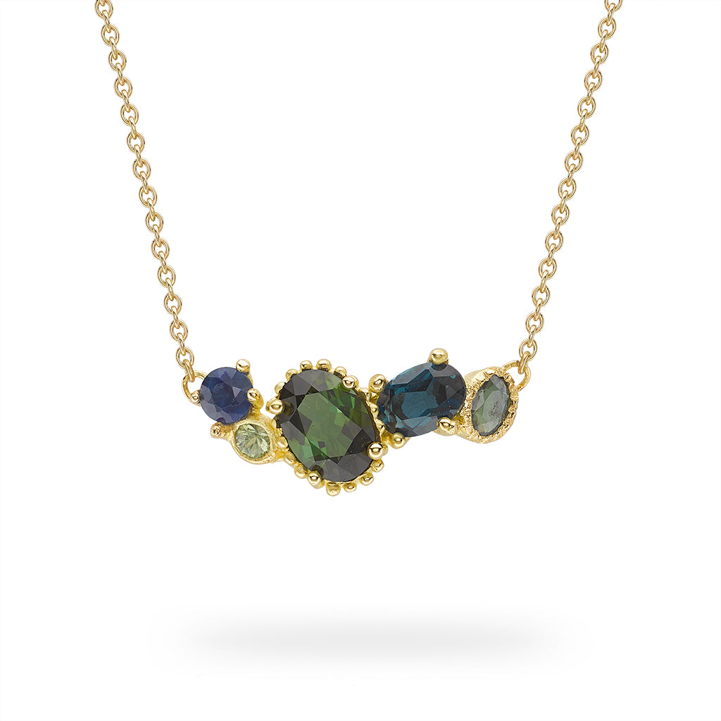 Tourmaline and sapphire bar necklace from Ruth Tomlinson, handmade in London