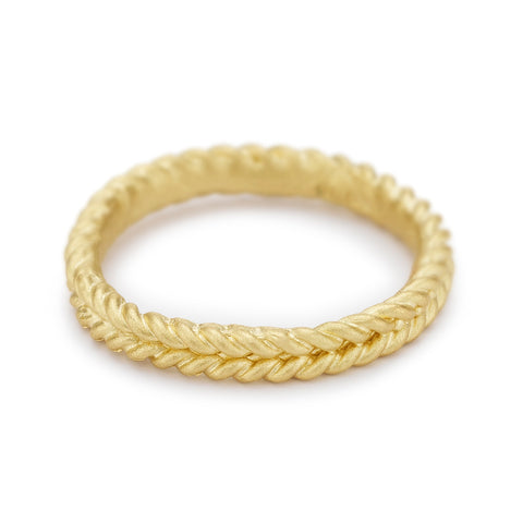 Yellow gold woven rope wedding band or stacking ring by Ruth Tomlinson, handmade in London