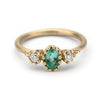 Emerald and diamond engagement ring with filigree from Ruth Tomlinson, handmade in London
