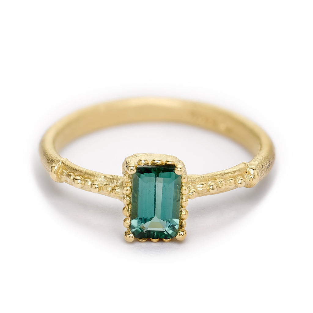 Green tourmaline solitaire ring from Ruth Tomlinson, handmade in London