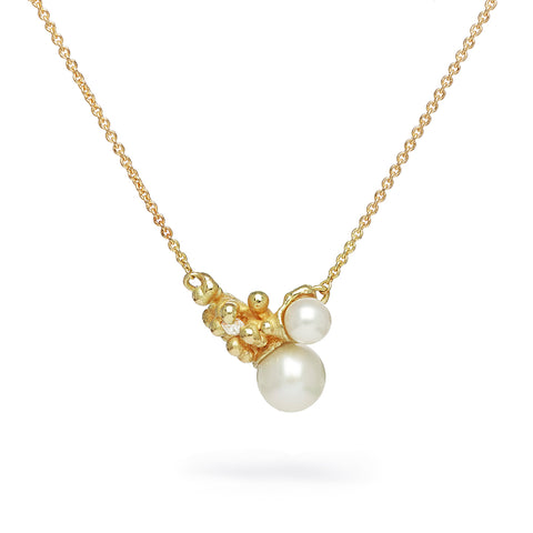 Pearl and diamond asymmetric cluster pendant from Ruth Tomlinson
