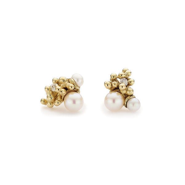 Pearl and Diamond Cluster Studs