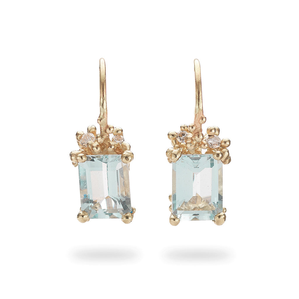 Aquamarine and diamond drop earrings from Ruth Tomlinson, handmade in London