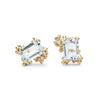 Ruth Tomlinson aquamarine and diamond studs in yellow gold, handmade in London