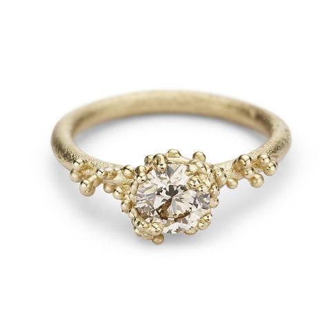 Solitaire champagne diamond engagement ring by Ruth Tomlinson, handmade in London
