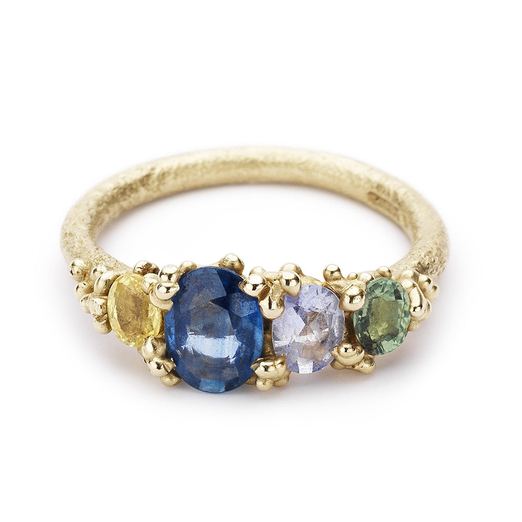 Coloured sapphire alternative engagement ring by Ruth Tomlinson, handmade in London