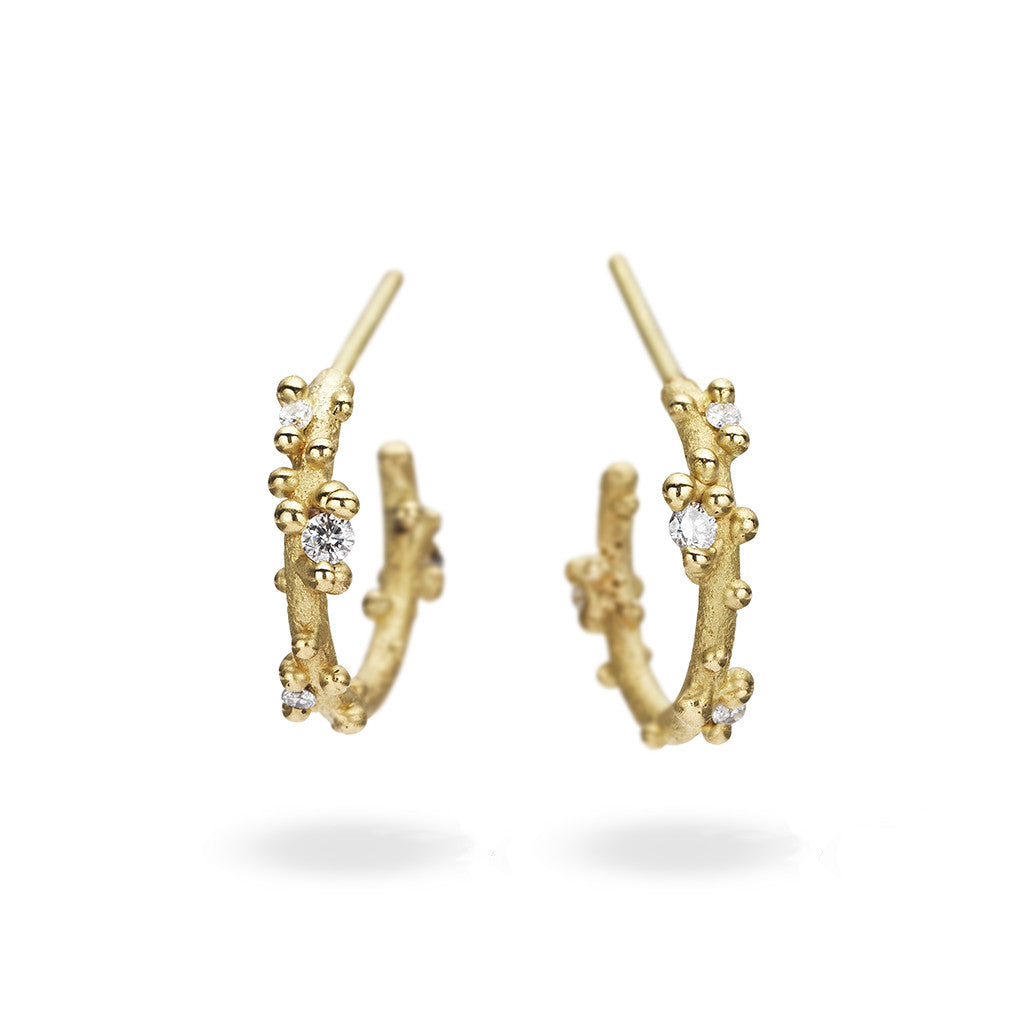 Yellow gold and diamond hoop earrings from Ruth Tomlinson, handmade in London