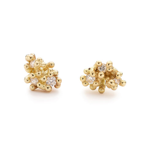 Diamond and gold cluster stud earrings from Ruth Tomlinson, handmade in London