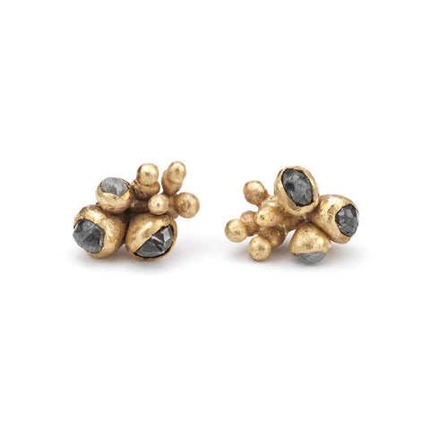 Rose cut grey diamond cluster stud earrings by Ruth Tomlinson, handmade in London