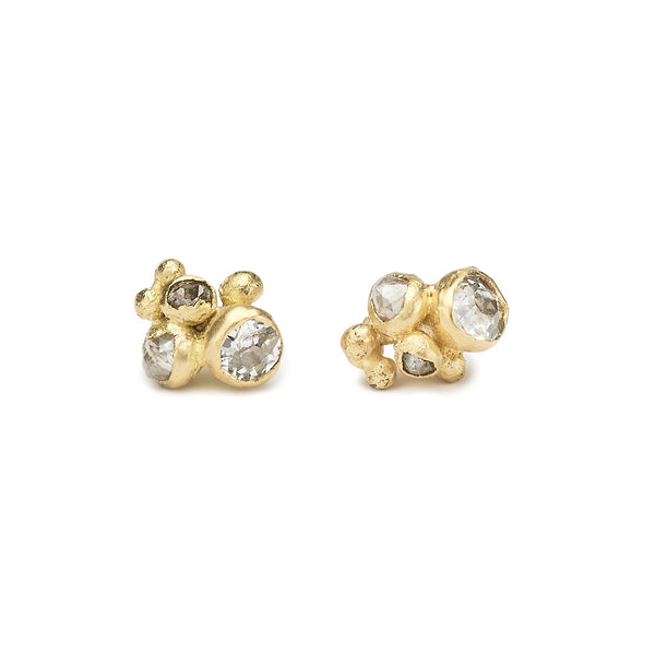 Mixed diamond cluster studs earrings from Ruth Tomlinson, handmade in London