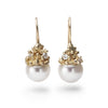 Pearl and diamond drop earrings in yellow gold by Ruth Tomlinson, handmade in London
