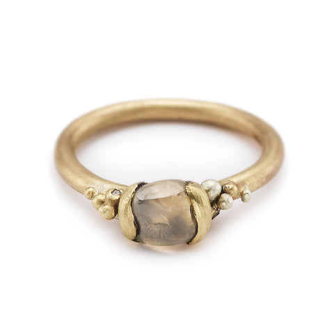 Unique raw champagne diamond engagement ring by Ruth Tomlinson, handmade in London