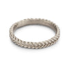 White gold woven rope wedding band or stacking ring by Ruth Tomlinson, handmade in London