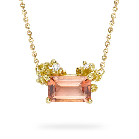 Pink tourmaline encrusted pendant with white diamonds from Ruth Tomlinson, handmade in London