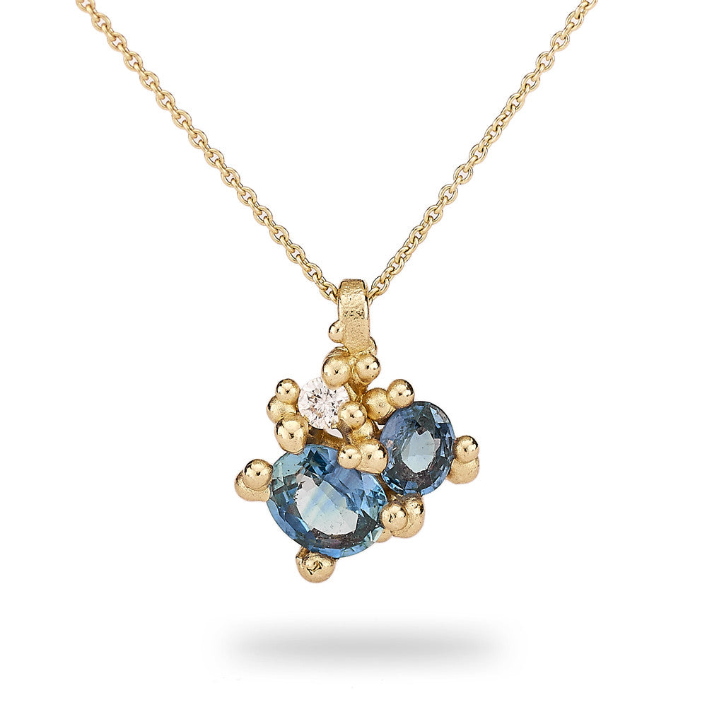 Sapphire and diamond cluster pendant from Ruth Tomlinson, handmade in London