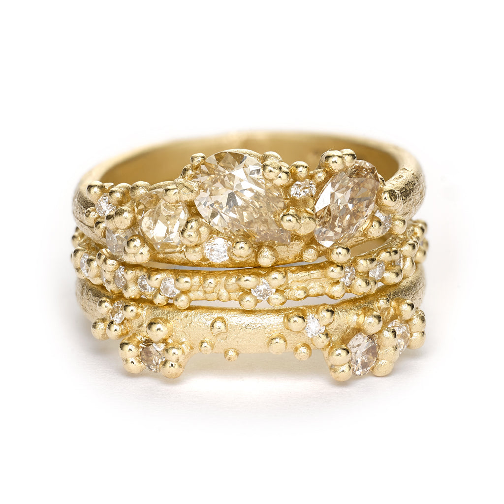 Champagne diamond ring stack from Ruth Tomlinson, handmade in London