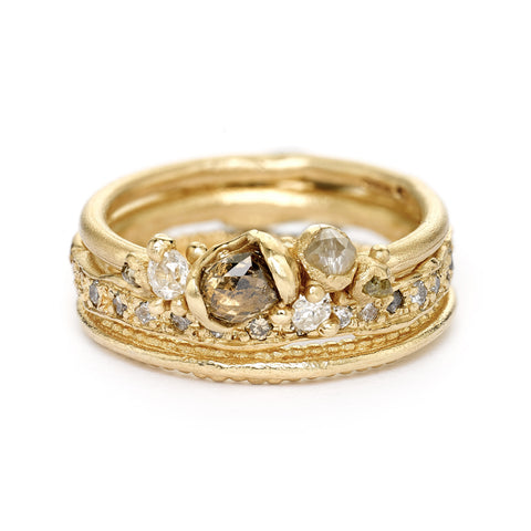 Rose cut diamond ring stack from Ruth Tomlinson, handmade in London