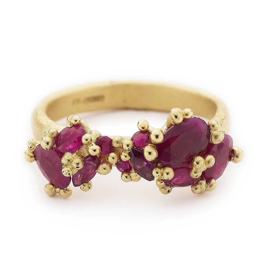 Ruby cluster engagement ring or cocktail ring from Ruth Tomlinson