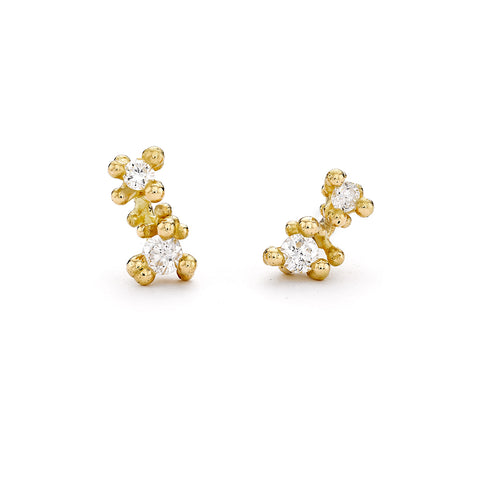 Double Diamond Studs with Granules by Ruth Tomlinson, handmade in London