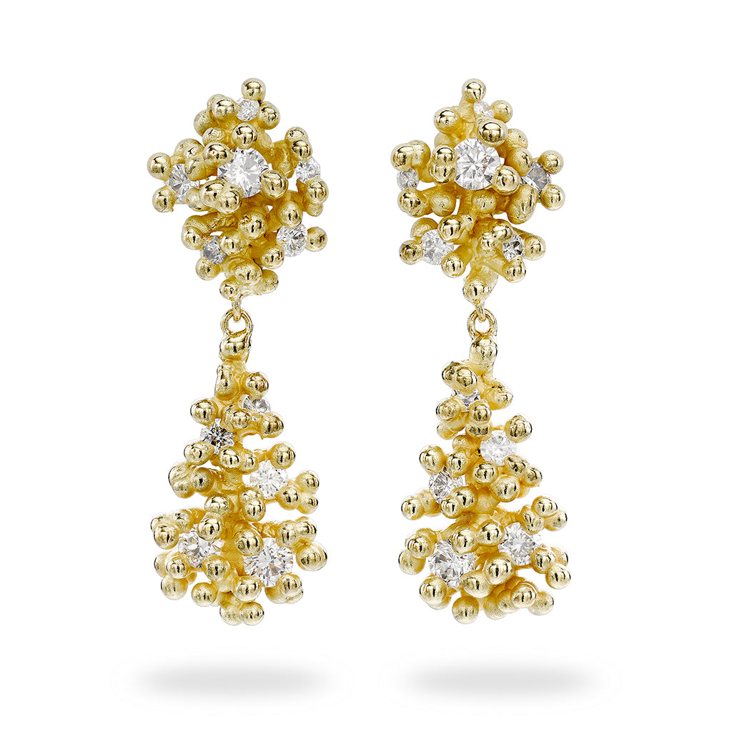 Diamond and Granule Double Drop Earrings by Ruth Tomlinson, handmade in London
