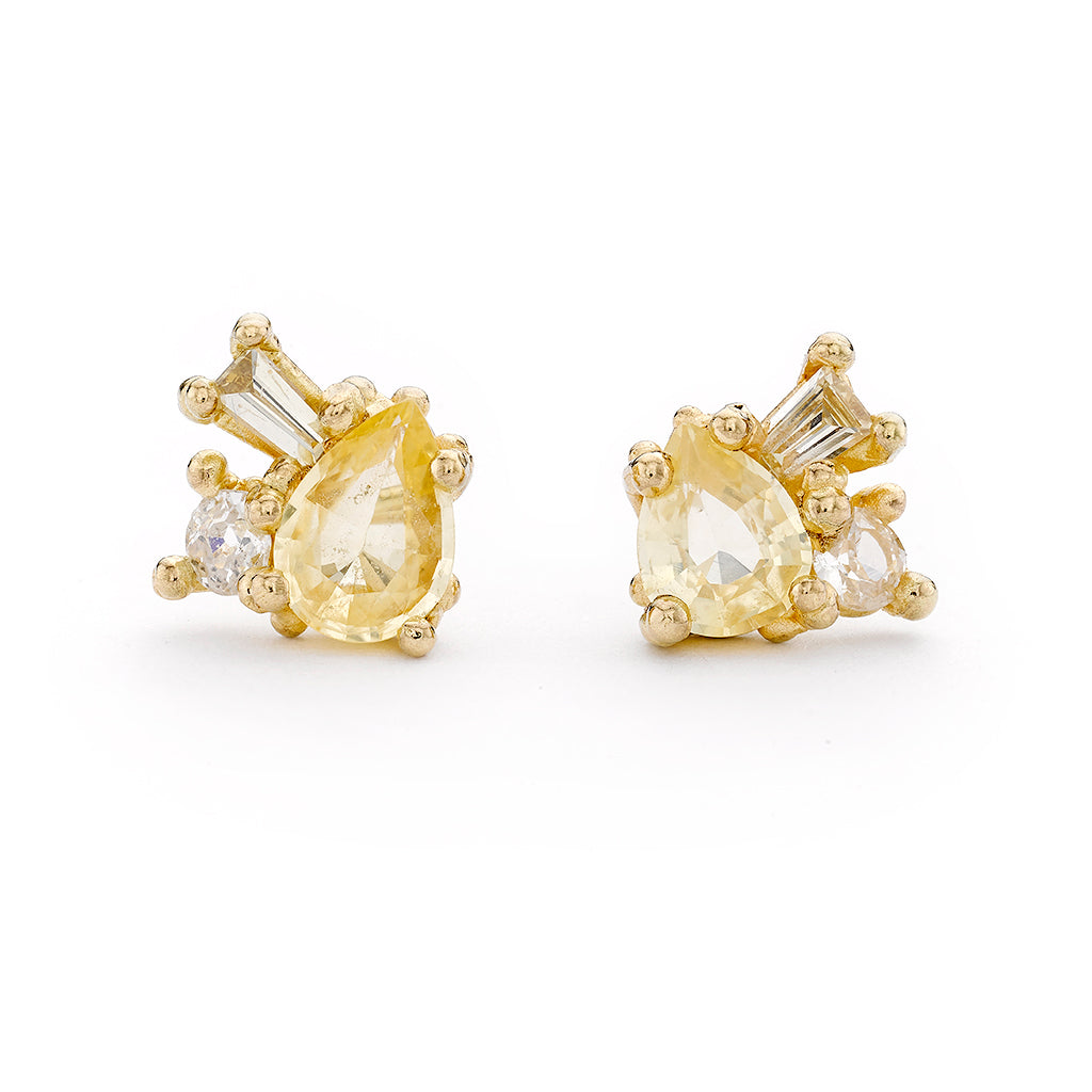 Yellow Sapphire Cluster Studs by Ruth Tomlinson, handmade in London