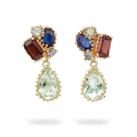 Mixed gemstone cluster drop earrings from Ruth Tomlinson, handmade in London